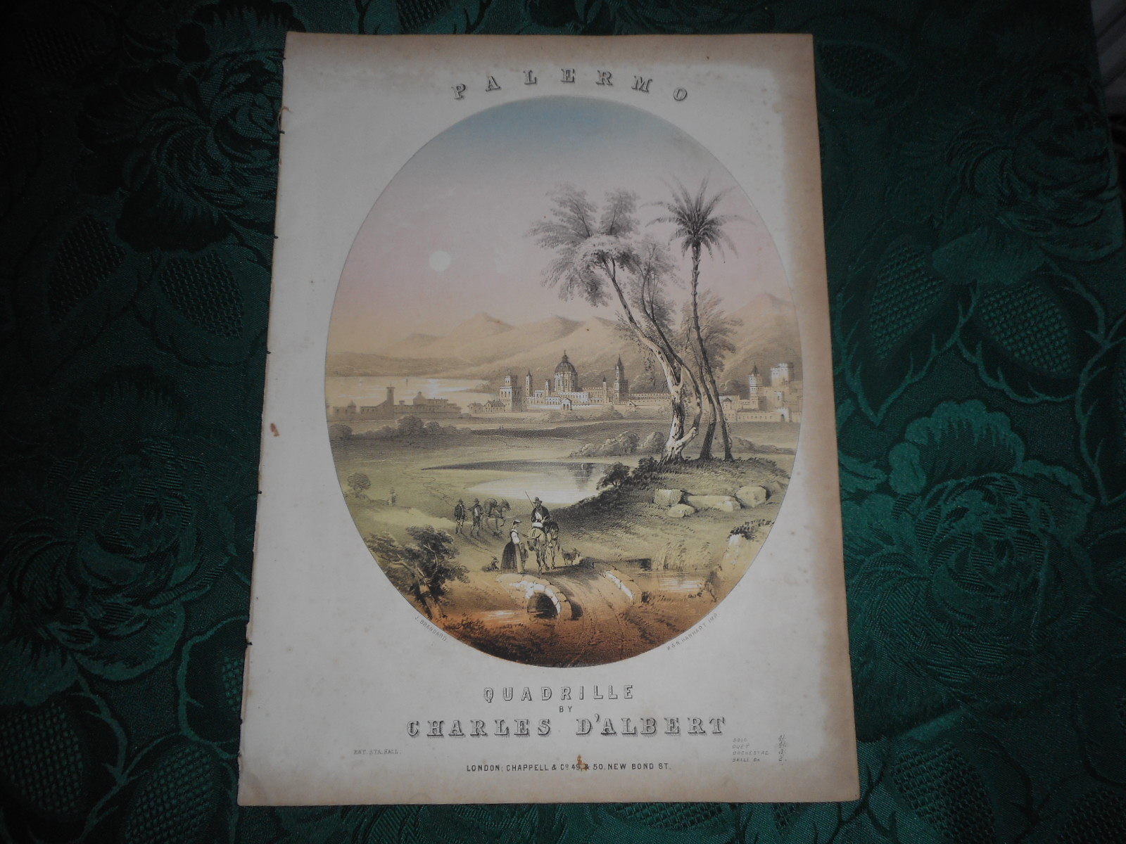 Image for PALERMO. Quadrille by Charles D'Albert. Delightful Brandard and Hanhart Coloured Lithograph Sheet Music Cover (Together with all the Music)