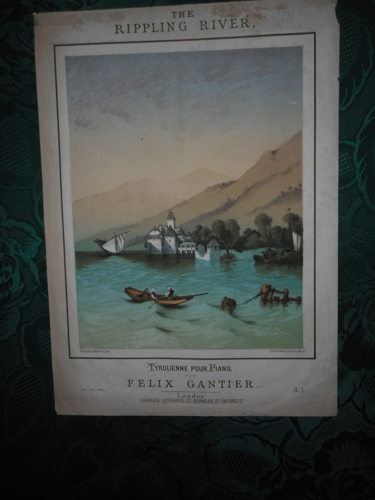 Image for The Rippling River. Attractive Coloured Lithographed Sheet Music COVER Stannard Imp. Packer and Griffin Lith, of a Tyrolean Scene. Tyrol / Austria (COVER ONLY)
