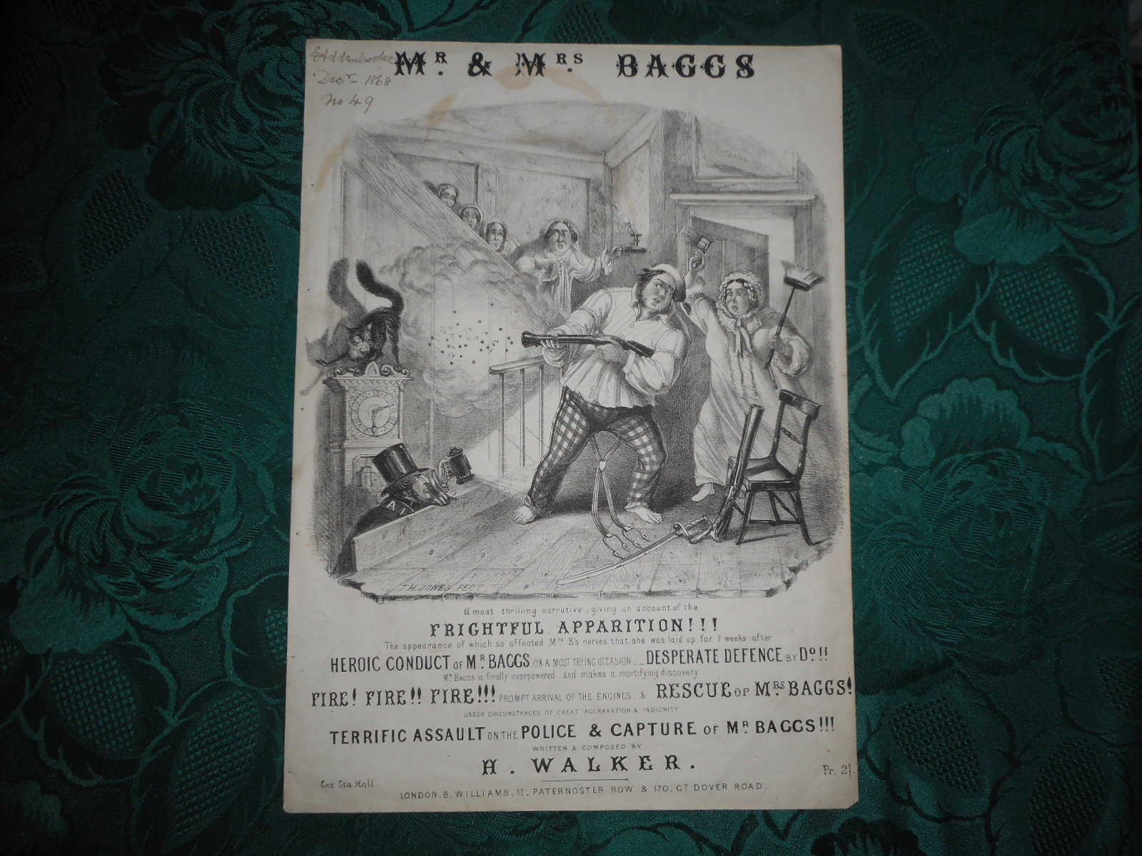 Image for Mr and Mrs Baggs - Sheet Music Cover - Black & White Lithograph T. H. Jones Illustrator of This Black & White Comic Lithograph