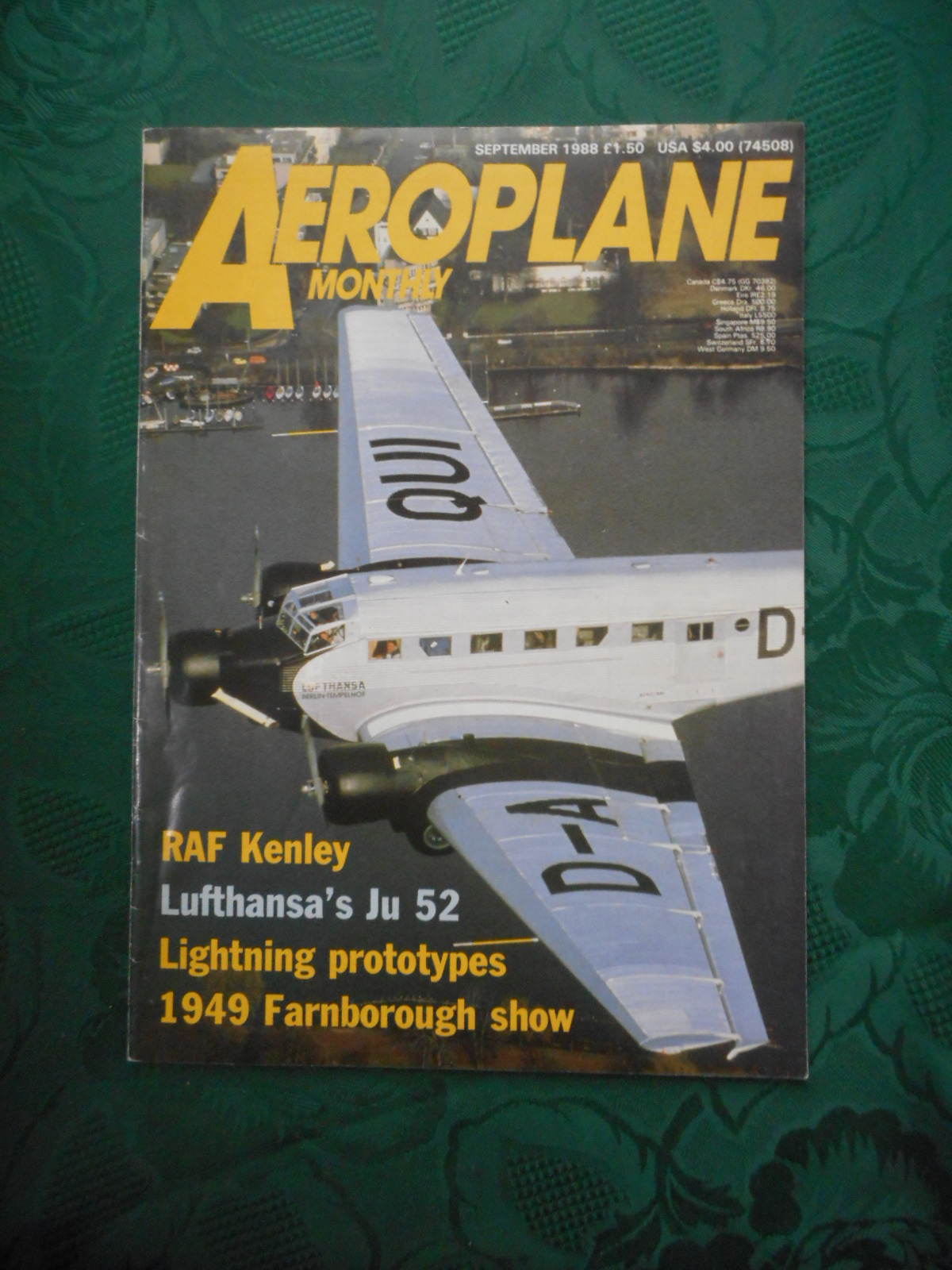 Image for Aeroplane Monthly, September 1988 - RAF Kenley, Luthansa's Ju 52, Lightening Prototypes, 1949 Farnborough Show, etc... Vol 16 No 9 Issue 185