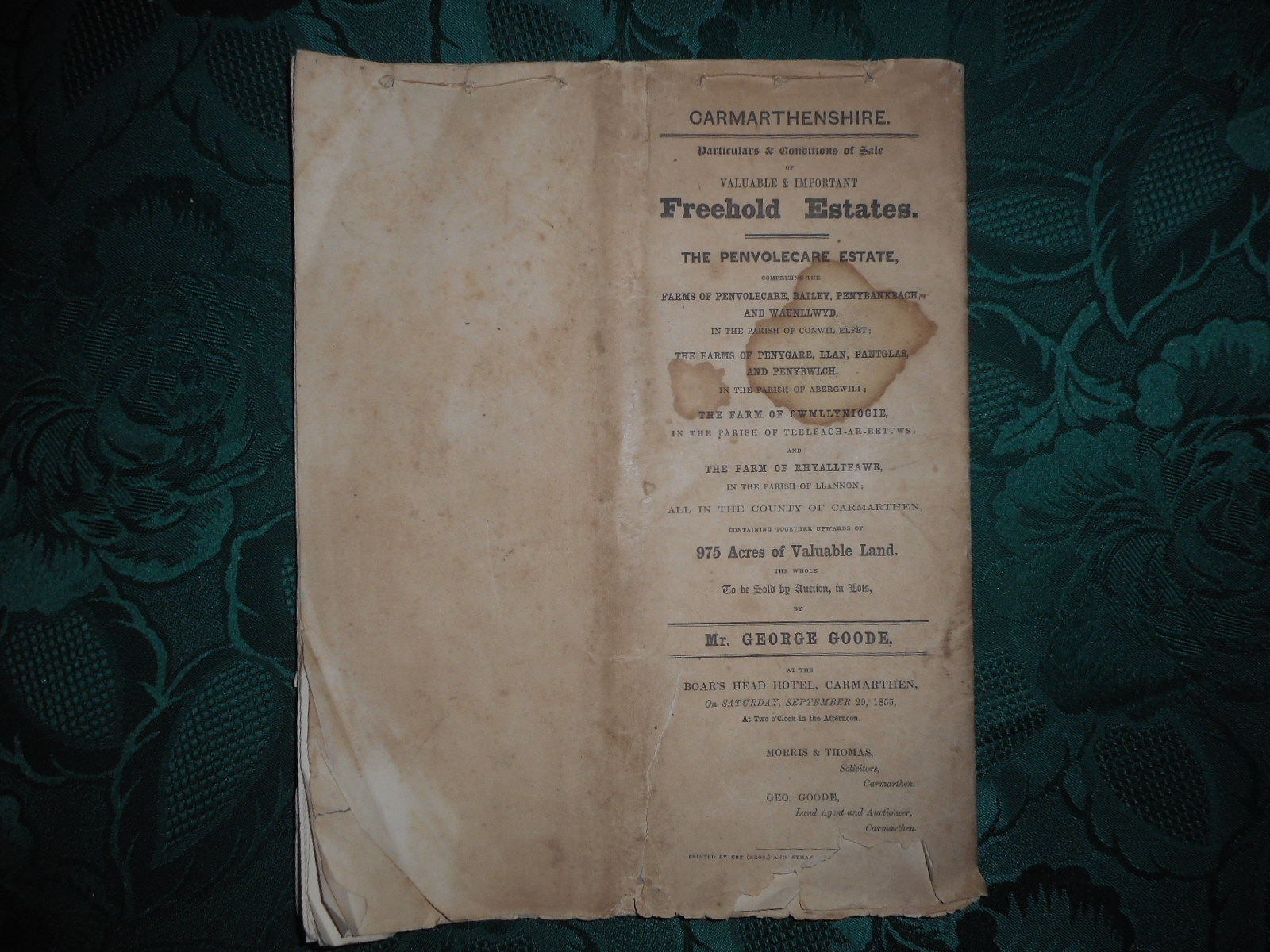 Image for Particulars and Conditions of Sale of Valuable & Important FREEHOLD ESTATES. the PENVOLECARE ESTATE Comprising the Farms of Penvolecare, Bailey, Penybankbach & Waunllwyd in the Parish of Conwil Elfet, Etc... (See Description) in the County of CARMARTHEN  (Includes Penygare, Llan, Pantglas, & Penybwlych in Abergwili. Cwmllyniogie Farm, Trelech-Ar-Bettws; & Rhyalltfawr Farm, Llannon, CARMARTHEN)