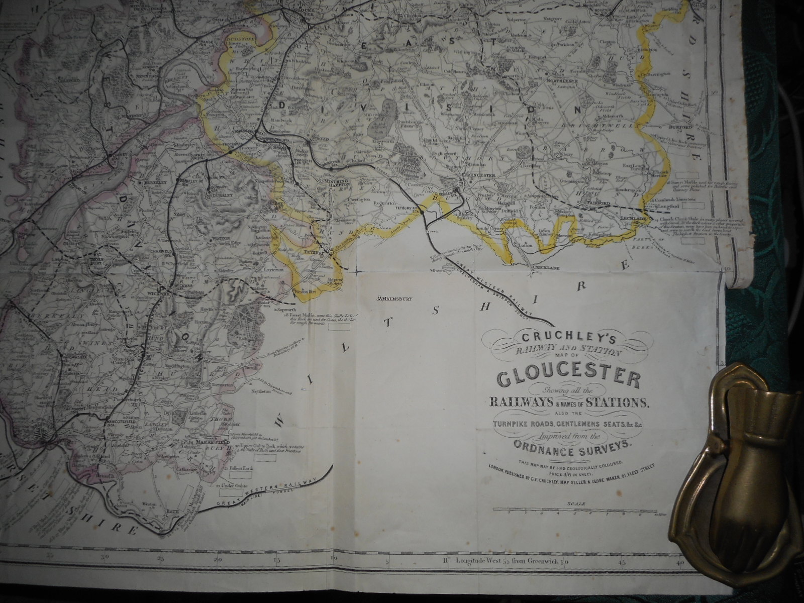 Image for Cruchley's Railway and Station Map of (The County of) GLOUCESTER. Showing all the Railways and Names of Stations, Also the Turnpike Roads, Gentlemens Seats, &c, &c. Improved from the Ordance Surveys.