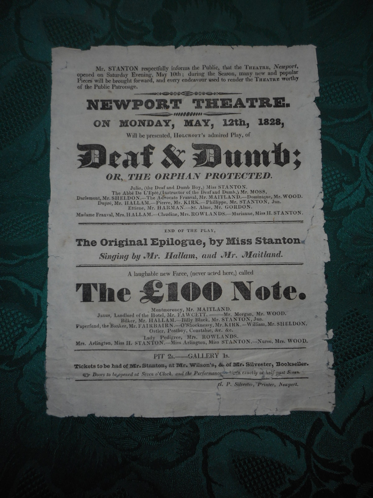 Image for NEWPORT THEATRE. Deaf & Dumb; Or. the Orphan Protected... an ORIGINAL THEATRE Poster/ Theatre Bill for Monday, May, 12th, 1828... Will be Presented... 1820s Playbill / Broadside Poster