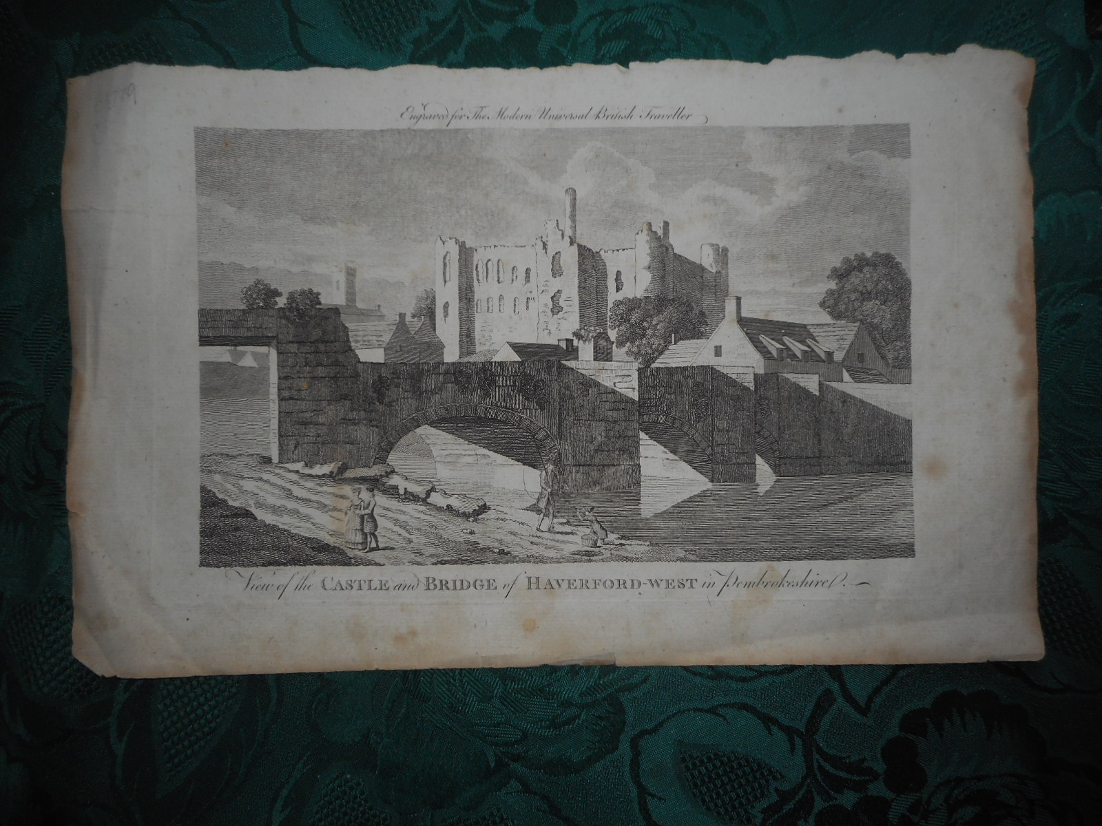 Image for View of the Castle and Bridge of Haverford-West in Pembrokeshire. An Original Antique Copper Engraving c. 1779 from the Modern Universal British Traveller...  (Haverfordwest)