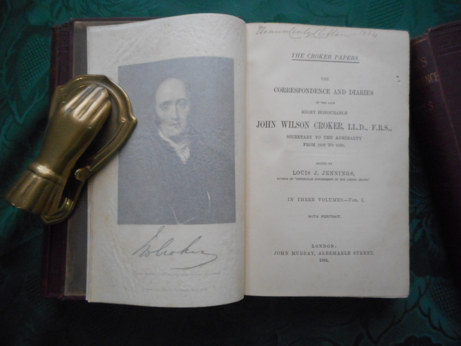 Image for The Croker Papers: The Correspondence and Diaries of the Late Right Honourable John Wilson Croker, LL. D. , F. R. S. , Secretary to the Admiralty from 1809 to 1830. In Three Volumes. The ORIGINAL 1884 Set Complete.