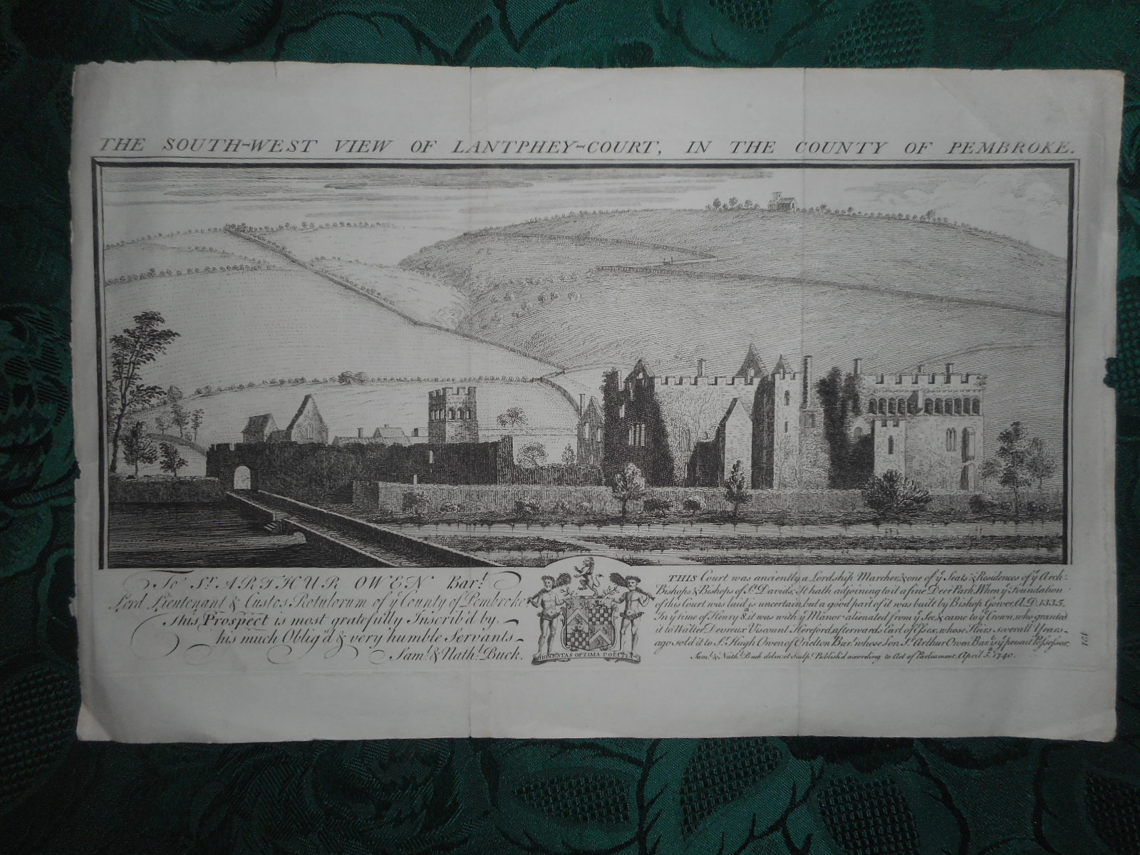 Image for The South-West View of Lantphey-Court, in the County of Pembroke. ORIGINAL Antique Copper Engraving.   ( Modern Day Name = Lamphey Court  Aka  The Bishop's Palace )