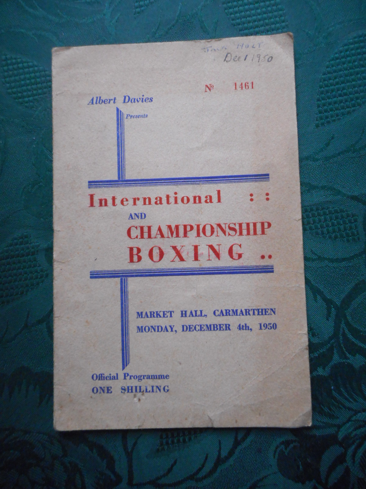 Image for Programme for International & Championship Boxing Including the Heavyweight Contest between Tommy Farr and Lloyd Marshall. Carmarthen. December 4th 1950.