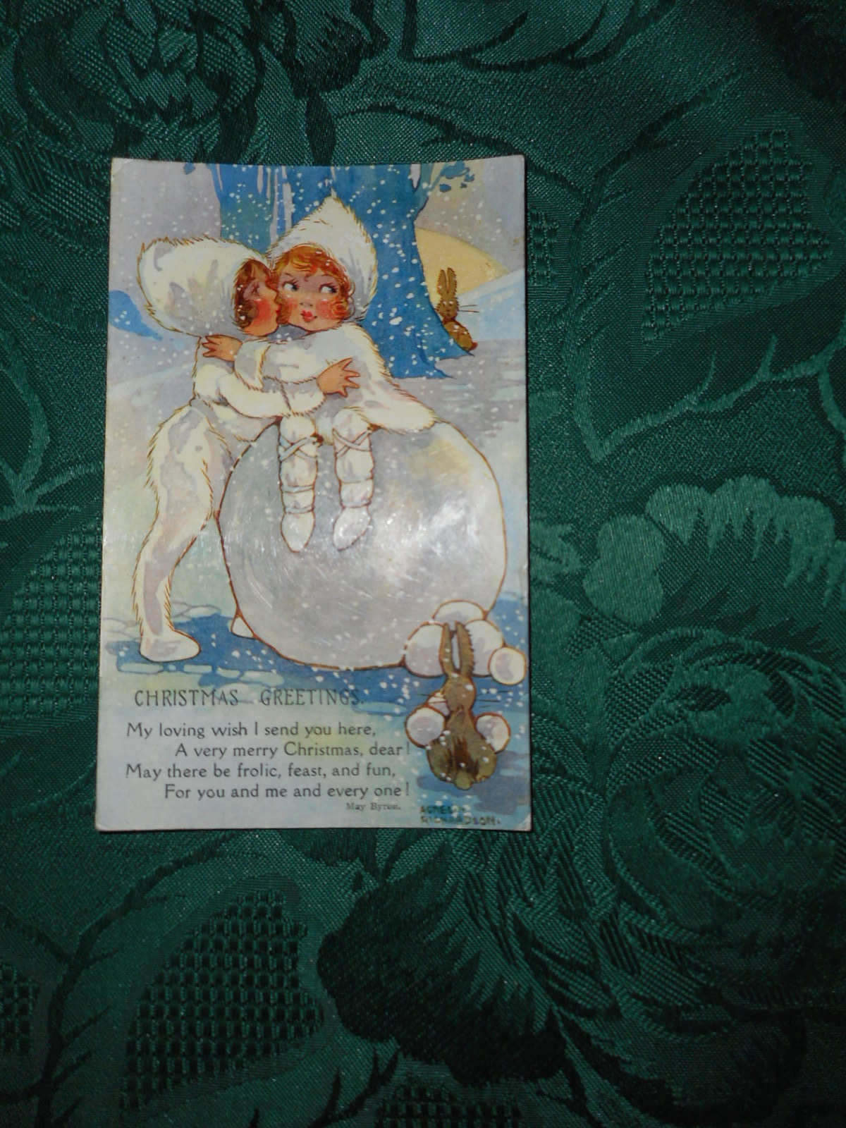 AGNES RICHARDSON Illustrated Postcard (W & K Postcard Copyright Series No. 5084)  Christmas Greetings