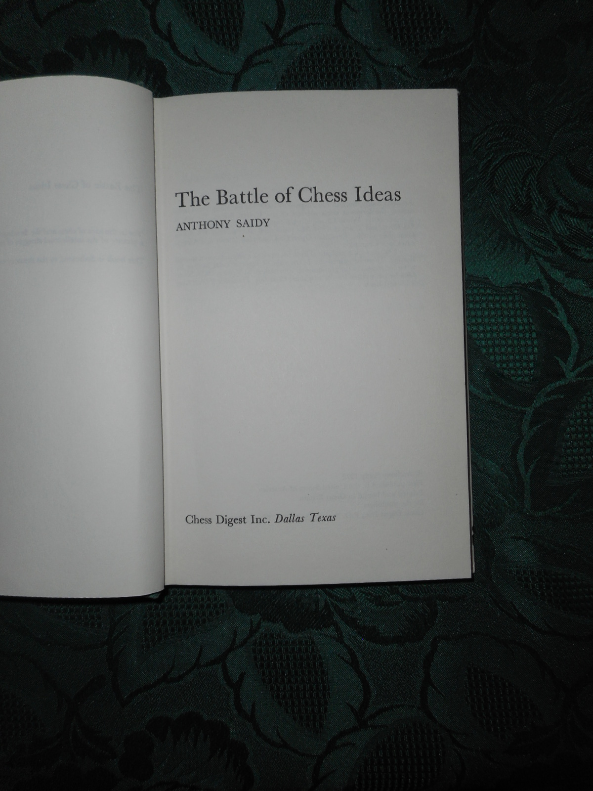 Image for The Battle of Chess Ideas (SIGNED Copy Dedicated to Larry Evans)