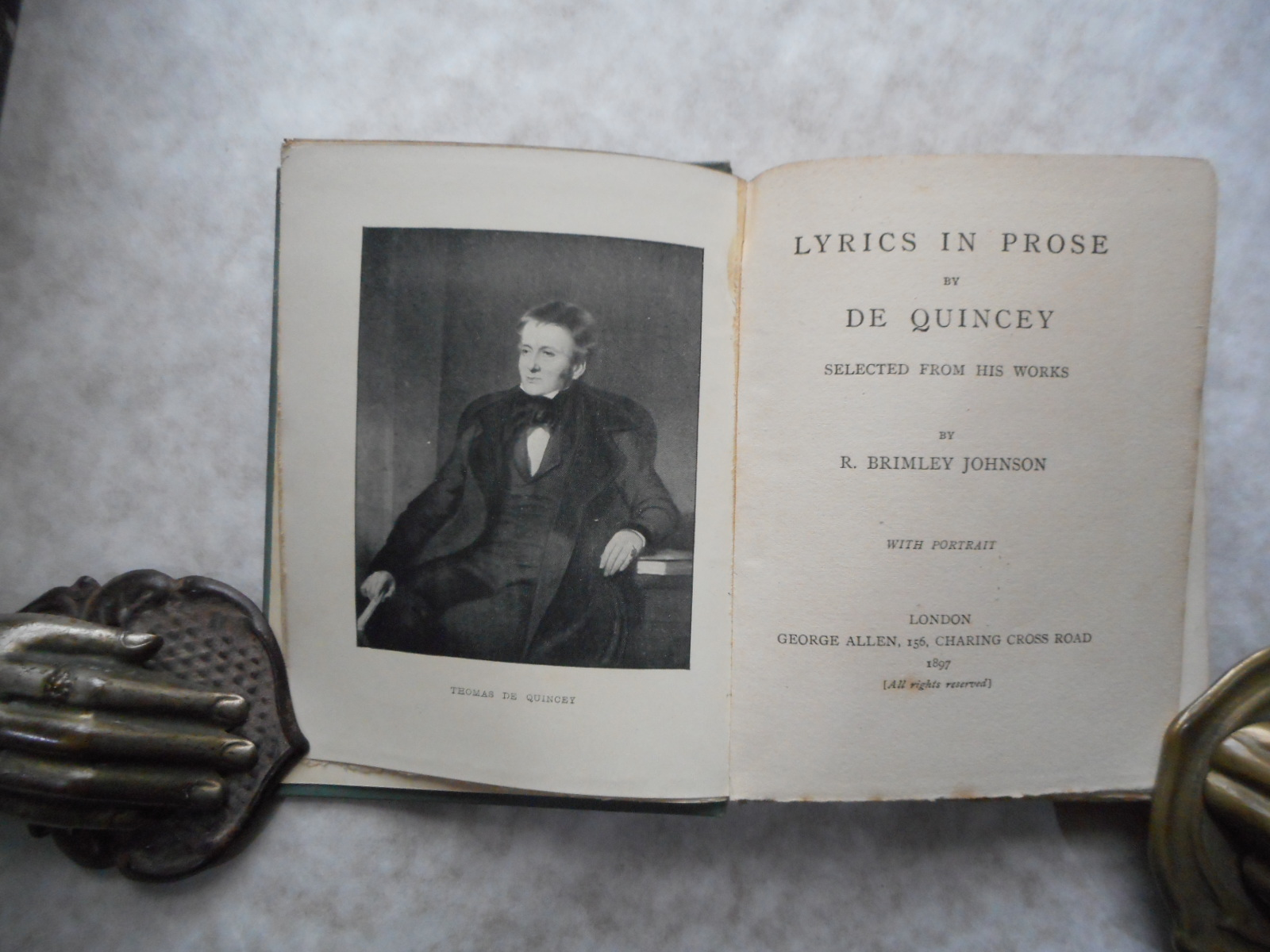 Image for Lyrics in Prose by De Quincey.  Selected by R. Brimley Johnson