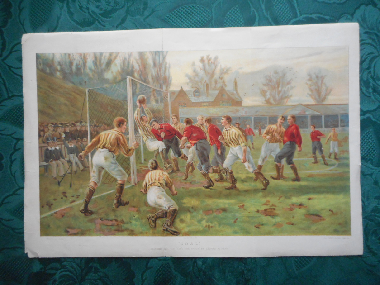 "GOAL. Football Game. Large Antique Colour Plate from 'The Boys Own Paper' 1897. 17"" X 11.6"" (Including Top, Side and Bottom Margins)"