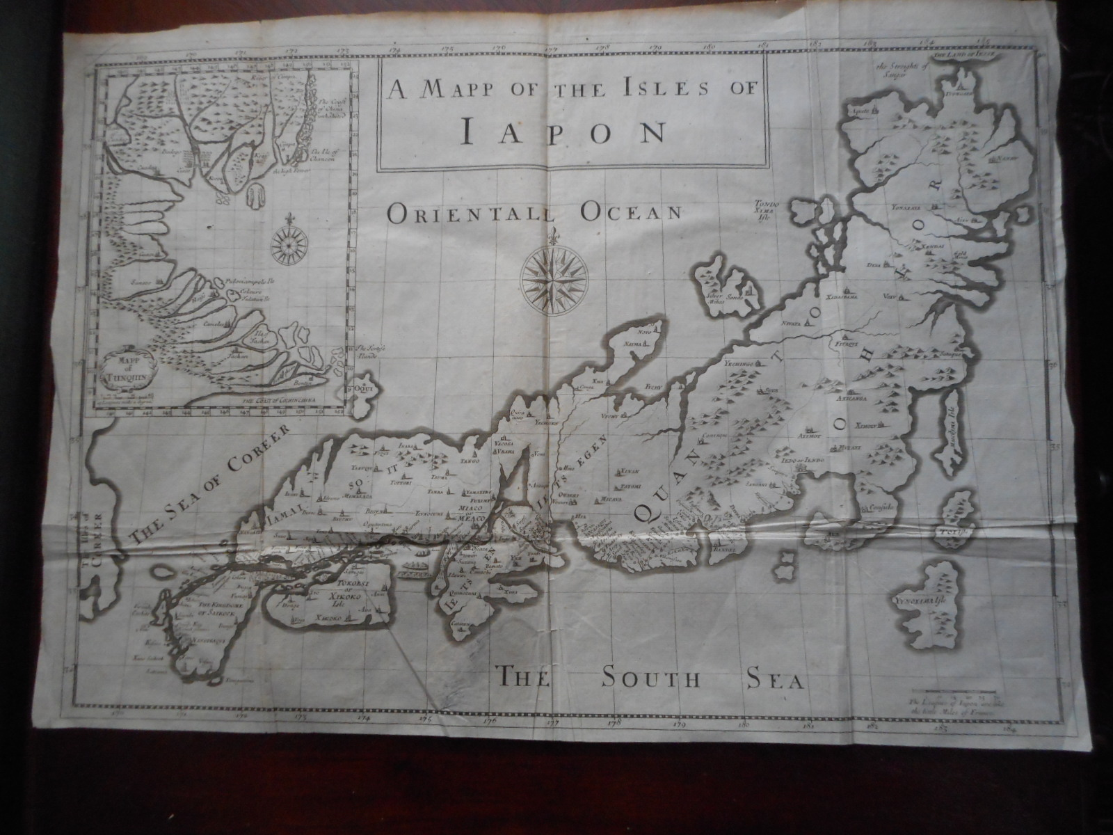Mapp of the Isles of Iapon  (Map of the Isles of JAPAN. from Pitt's English Edition, 1688, of Tavernier's 'collection of Travels...' )
