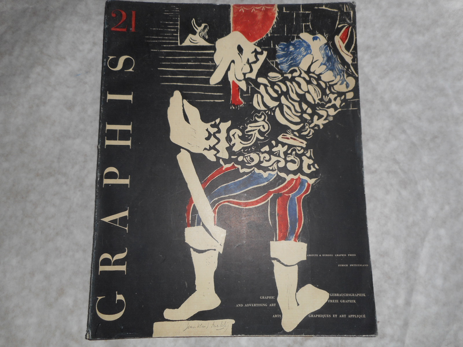 Image for GRAPHIS MAGAZINE International Journal of Graphic Art and Applied Art. No 21 1948 (Vol 4) . Cover Art by Jean-Denis Malcles In 3 Languages - French English and German